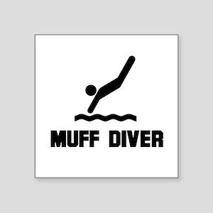 """Muff Diver 1 Square Sticker 3"""" x 3"""""""
