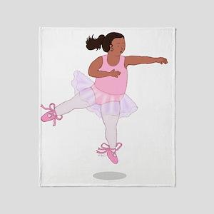 2-Fat Ballerina Leaping Black Throw Blanket