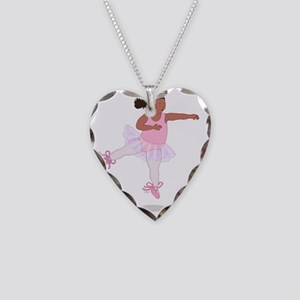 2-Fat Ballerina Leaping Black Necklace Heart Charm