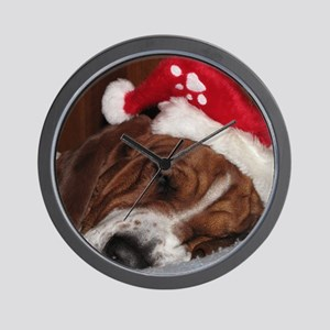 Christmas Basset Wall Clock