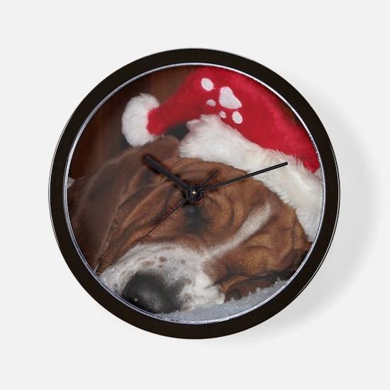 Christmas Basset Wall Clock