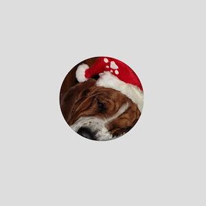 Christmas Basset Mini Button