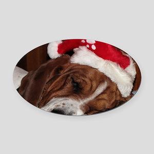 Christmas Basset Oval Car Magnet