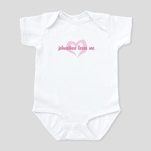 """""""johnathon loves me"""" Infant Bodysuit"""