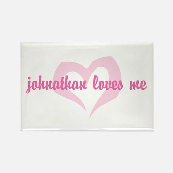 """johnathan loves me"" Rectangle Magnet"
