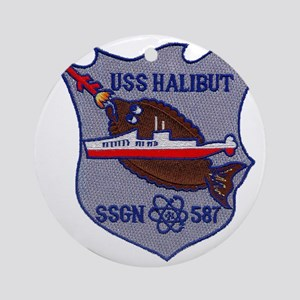 halibut patch transparent Round Ornament