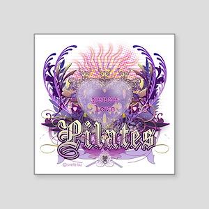 "peace love pilates Square Sticker 3"" x 3"""