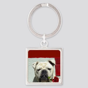 Thank you bulldog Square Keychain