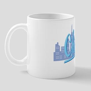 Chicago Light Blue Script on Black Mug