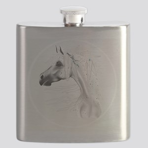 Leopard Appy and White Feathers-circle Flask