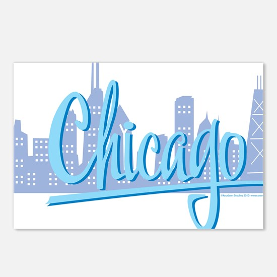 CHICAGO-Light-Blue Postcards (Package of 8)