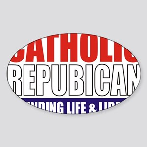 2-Catholic Republican (TShirt Front Sticker (Oval)