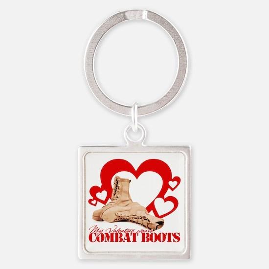 My Valentine wears combat boots Square Keychain