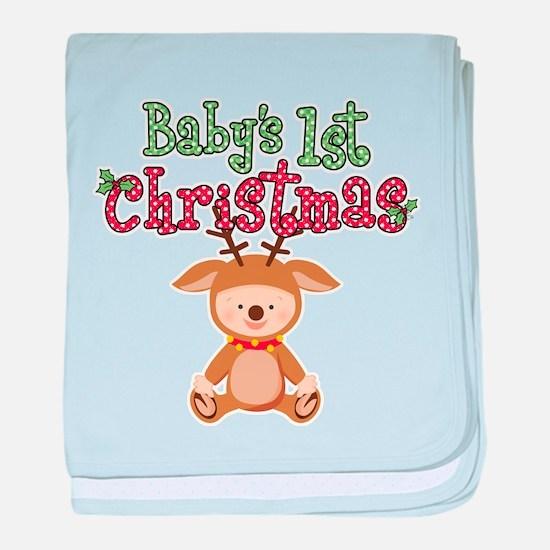 1st Christmas Baby Reindeer baby blanket