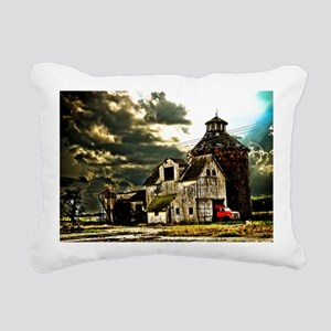 Stormy Old Barn and Silo Rectangular Canvas Pillow