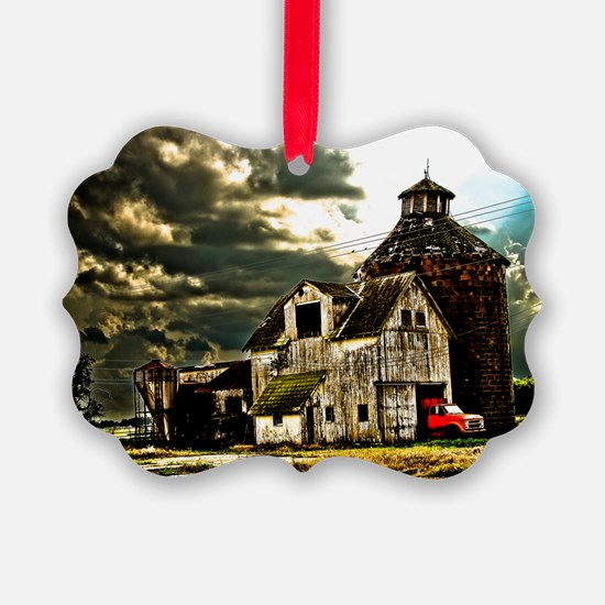 Stormy Old Barn and Silo Ornament