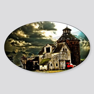 Stormy Old Barn and Silo Sticker (Oval)