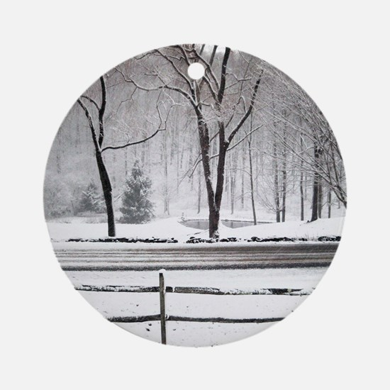 Winter Pond and Road Tote Round Ornament