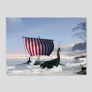 Wonderful longboat, vikking ship 5'x7'Area Rug