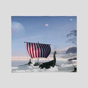 Wonderful longboat, vikking ship Throw Blanket