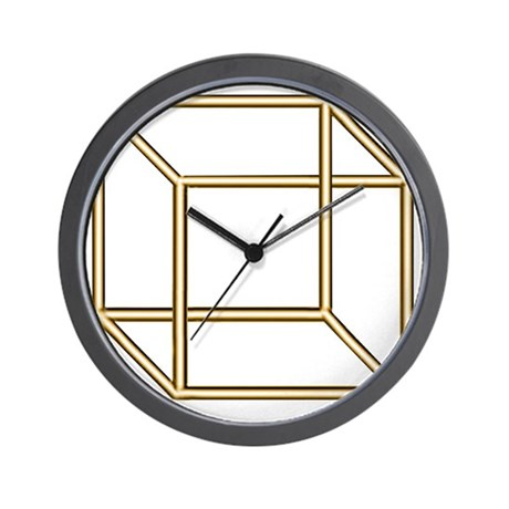 Necker cube Wall Clock