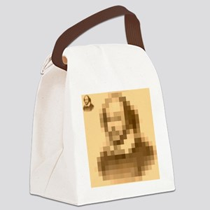 Pixelated Shakespeare Canvas Lunch Bag