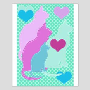 Cats On Aqua Dots Small Poster