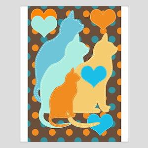 Cats On Orange And Aqua Dots Small Poster