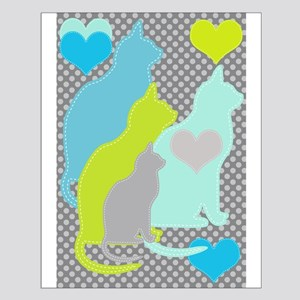 Cats On Gray Dots Small Poster