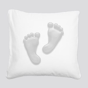 Baby Feet in White Square Canvas Pillow