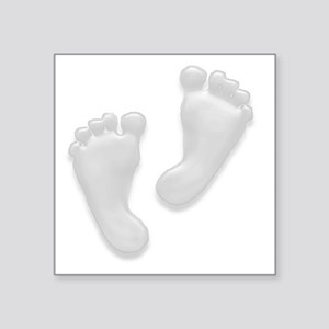 "Baby Feet in White Square Sticker 3"" x 3"""