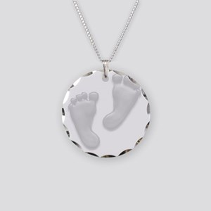 Baby Feet in White Necklace Circle Charm