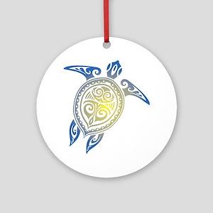 Tribal Sea Turtle Ornament (Round)