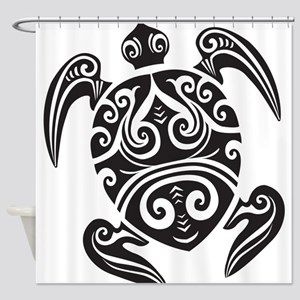 Tribal Sea Turtle Shower Curtain