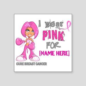 Personalized Breast Cancer Custom Square Sticker 3