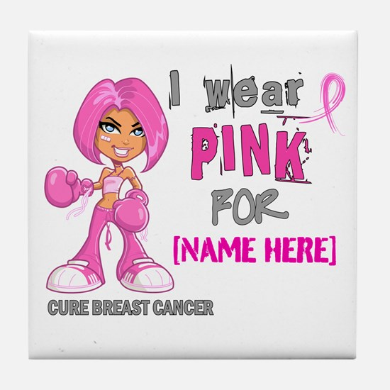 Personalized Breast Cancer Custom Tile Coaster