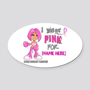 Personalized Breast Cancer Custom Oval Car Magnet