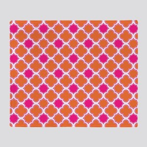 Quatrefoil Pattern Orange and Hot Pink Throw Blank