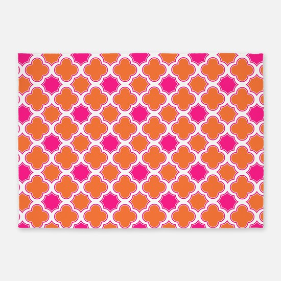 Quatrefoil Pattern Orange and Hot Pink 5'x7'Area R