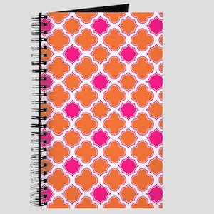 Quatrefoil Pattern Orange and Hot Pink Journal