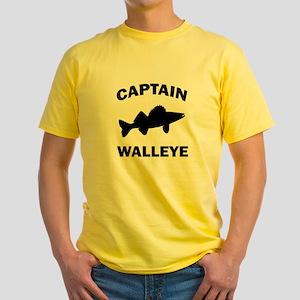 CAPTAIN WALLEYE CENTERED Yellow T-Shirt