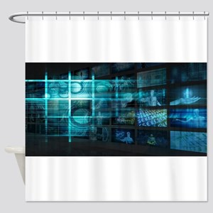 Futuristic Backgro Shower Curtain