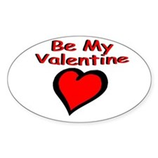 Be My Valentine Oval Sticker