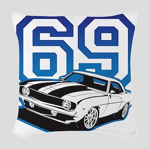 blue 69 camaro Woven Throw Pillow