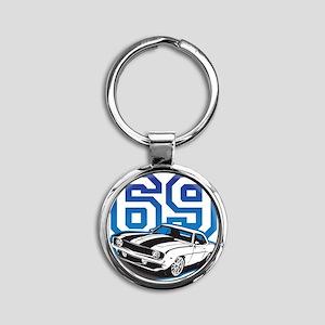 blue 69 camaro Round Keychain
