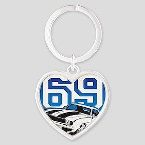 blue 69 camaro Heart Keychain