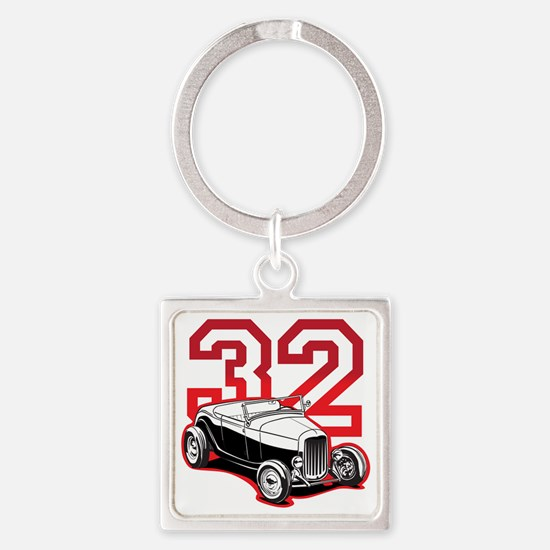 red 32 ford Square Keychain