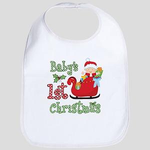 1st Christmas Baby Santa Bib
