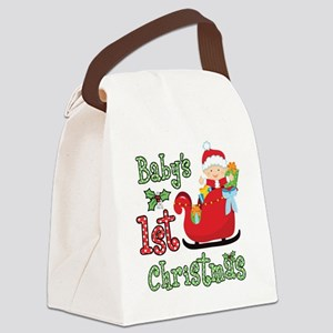 1st Christmas Baby Santa Canvas Lunch Bag
