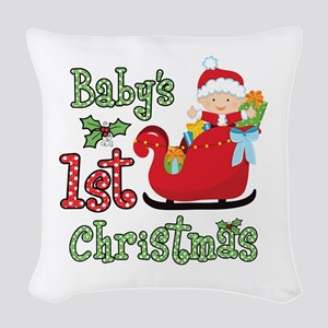 1st Christmas Baby Santa Woven Throw Pillow